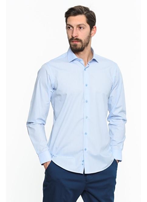 Comienzo Slim Fit Uzun Kollu Gömlek Mavi